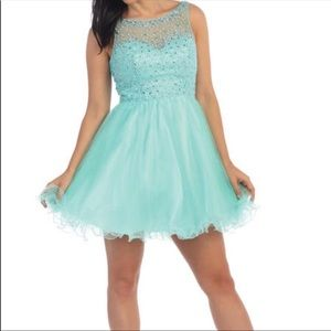 Dancing Queen Mesh Tulle Embellished Prom Dress